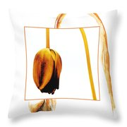 Withered Tulip Flower. Vintage-look Throw Pillow