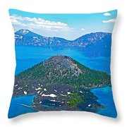 Wizard Island From Watchman Overlook In Crater Lake National Park-oregon  Throw Pillow
