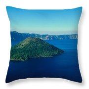 Wizard Island In Crater Lake, Oregon Throw Pillow