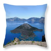 Wizard Island Crater Lake Oregon Usa Throw Pillow by John Kelly