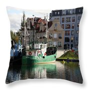 Wladyslawowo And Gdynia In Gdansk Harbor Throw Pillow