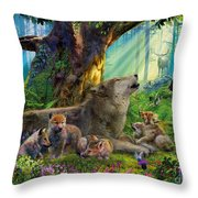 Wolf And Cubs In The Woods Throw Pillow