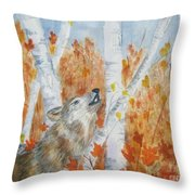 Wolf Call Throw Pillow