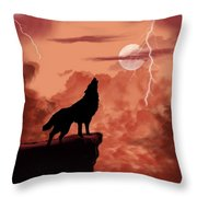 Wolf Howling In The Night Throw Pillow