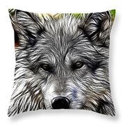 Wolf Line Art  Throw Pillow