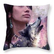 Wolf Montage Throw Pillow by Garry Walton