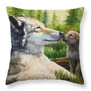 Wolf Painting - Spring Kisses Throw Pillow