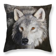 Wolf Portrait Throw Pillow by Crista Forest