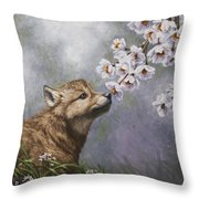 Wolf Pup - Baby Blossoms Throw Pillow