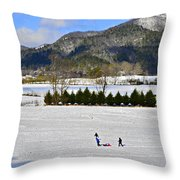 Wolffork Valley Winter Throw Pillow