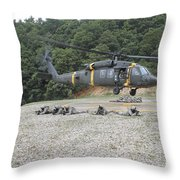 Wolfhounds Air Assault From A Uh-60 Throw Pillow