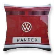 Wolkswagen Combi Red Throw Pillow