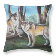 Wolves In The Forest Throw Pillow