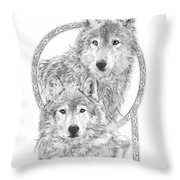 Canis Lupus II - Wolves - Mates For Life  Throw Pillow