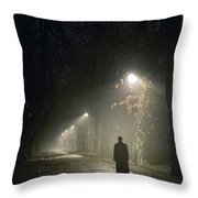 Woman Alone On A Park Avenue Throw Pillow