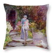 Woman And Child In A Cottage Garden Throw Pillow