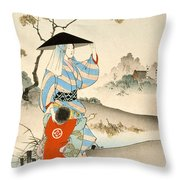 Woman And Child  Throw Pillow by Ogata Gekko
