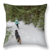 Woman And Dog Walking In Forest Throw Pillow