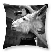 Woman And Donkey Black And White Throw Pillow