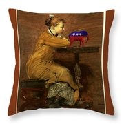 Woman And Elephant Throw Pillow