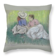 Woman And Girl On The Grass Throw Pillow