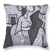 Woman And Her Son Are Coming From Farm Throw Pillow