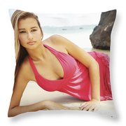 Woman At Anini Bay Throw Pillow by Kicka Witte