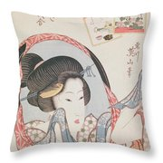 Woman At Her Mirror Throw Pillow