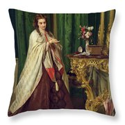 Woman At Her Toilet Throw Pillow