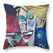 Woman At Martini Bar Throw Pillow