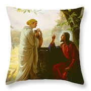 Woman At The Well Throw Pillow