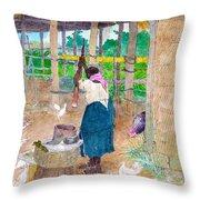 Woman Beating Cassava Jamaica Throw Pillow