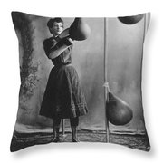 Woman Boxing Workout Throw Pillow by Underwood Archives