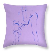 Woman Dancer Stretching Touching Floor Throw Pillow