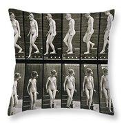 Woman Descending Steps Throw Pillow by Eadweard Muybridge