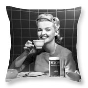 Woman Drinking Nescafe Throw Pillow by Underwood Archives