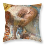 Woman Drying Her Feet Throw Pillow