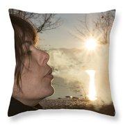 Woman Exhalation Throw Pillow