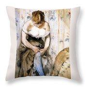 Woman Fastening Her Garter Throw Pillow