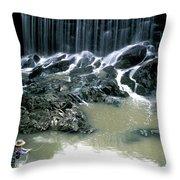 Woman Flyfishing Below Waterfall Throw Pillow