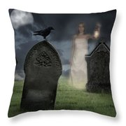 Woman Haunting Cemetery Throw Pillow