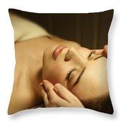 Woman Having A Facial Massage Throw Pillow