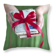 Woman Holding A Bundle Of Love Letters Throw Pillow