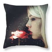 Woman Holding Rose Behind A Rainy Window Throw Pillow