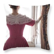 Woman In 18th Century Dress At The Window Throw Pillow