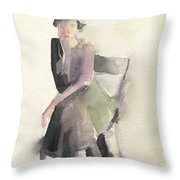 Woman In A Cloche Hat Watercolor Fashion Illustration Art Print Throw Pillow by Beverly Brown