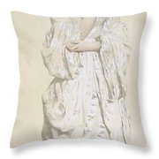 Woman In A Dressing Gown Throw Pillow by French School