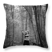 Woman In A Forrest Throw Pillow