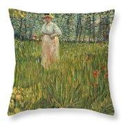 Woman In A Garden Throw Pillow by Vincent van Gogh