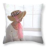 Woman In A Regency Period Empire Line Dress With Straw Bonnet Si Throw Pillow